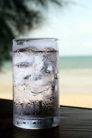 Glass of filtered water